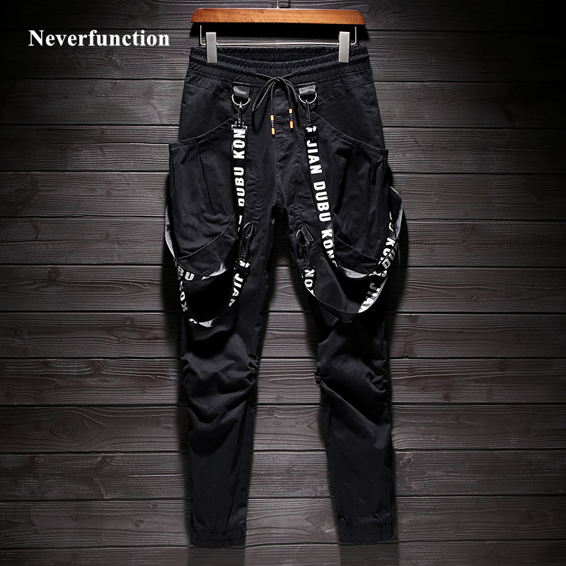2019 New Men Hip Hop Multi-pocket Casual Joggers Pants Elastic Waist Slim Fit Personalized Ribbon Streetwear Male Sweatpants