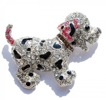 Black & Silver Dog Brooch With Mixed Colored Rhinestones