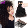Ariel 3 Pcs Brazilian Kinky Curly Hair With Closure Ear To Ear 13x4 Lace Frontal Closure With Bundles Afro Curly Human Hair 8A