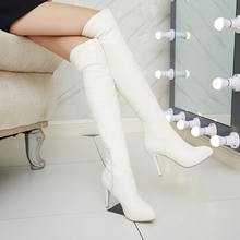 New Style Autumn Winter Women Over The Knee Boots Black White High Long boots Thigh High Heel Women Boots DZ86278
