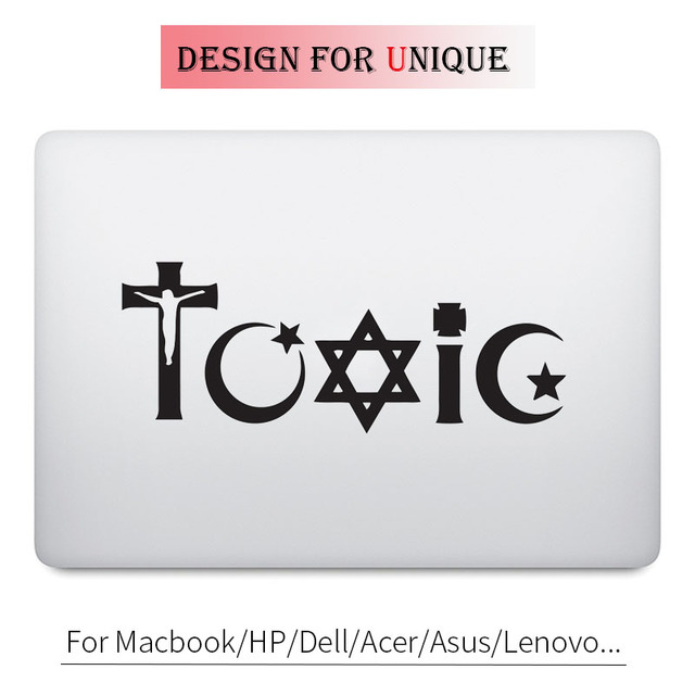 Toxic Religion Symbol Words Decal Laptop Sticker For Apple Macbook