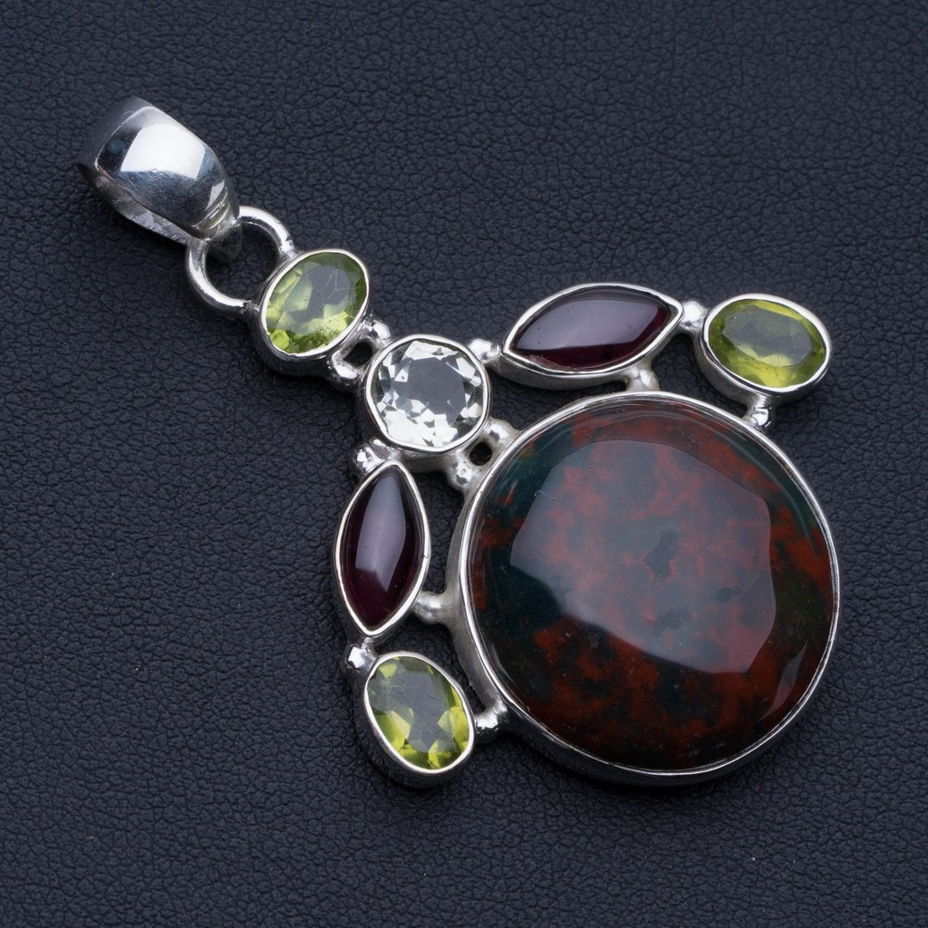 Natural Blood Stone,Amethyst,Peridot and Green Amethyst 925 Sterling Silver Pendant 2 1/4 P0528Natural Blood Stone,Amethyst,Peridot and Green Amethyst 925 Sterling Silver Pendant 2 1/4 P0528