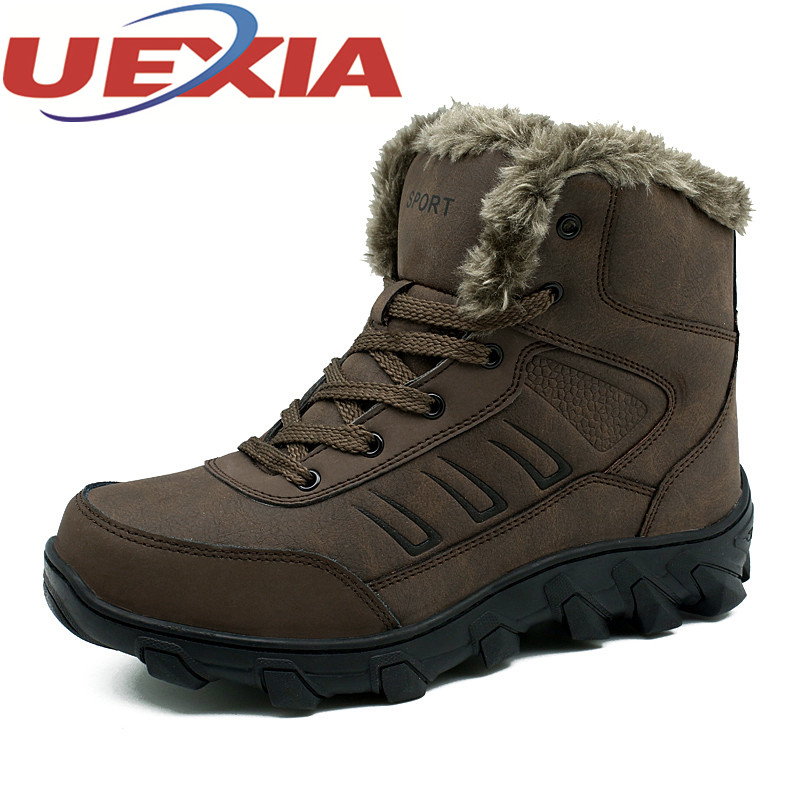 Plus Size 48 Men Hiking Shoes Outdoor Climbing Boots Man Warm Sneakers Shoes Winter Breathable Mountain Shoes Plush Ankle Boots big size 46 men s winter sneakers plush ankle boots outdoor high top cotton boots hiking shoes men non slip work mountain shoes
