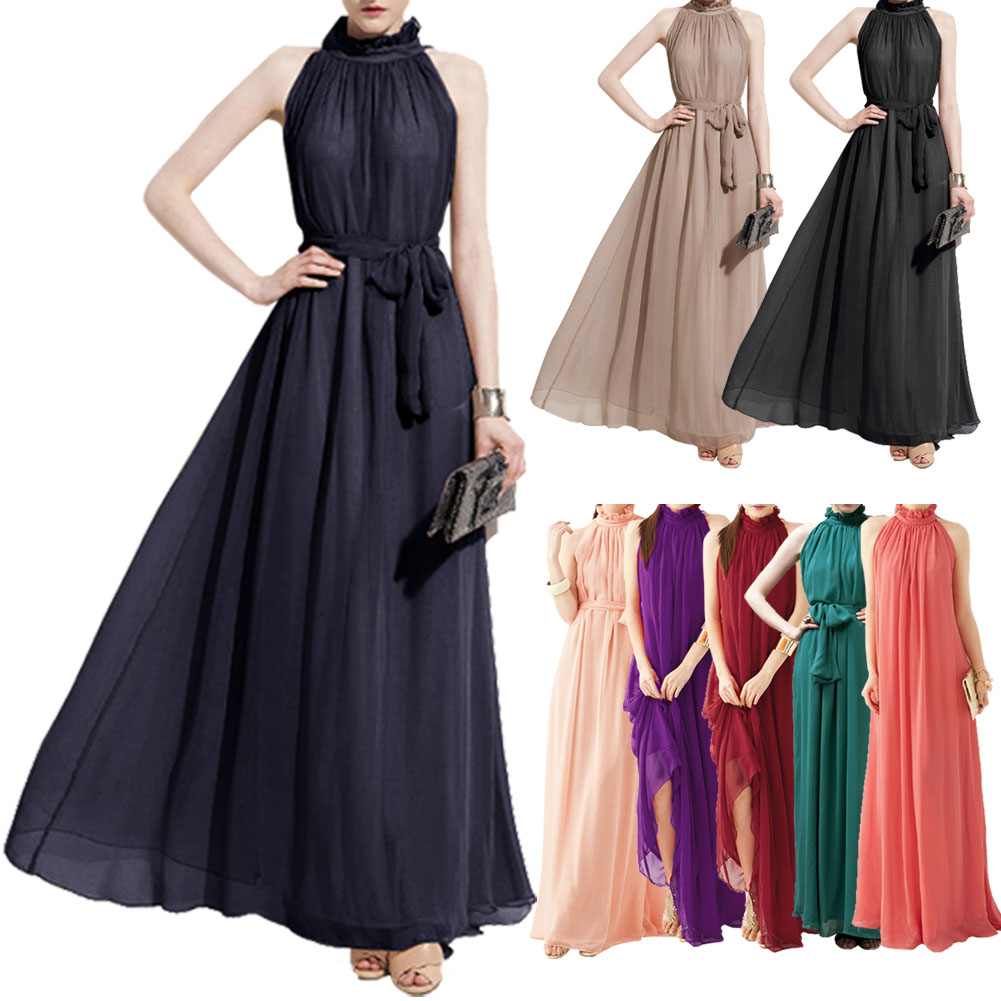 7a1511006d4 Bohemian Style Summer Women s Chiffon Long Maxi Dresses Halter Neck  Sleeveless Beach Dress FS99
