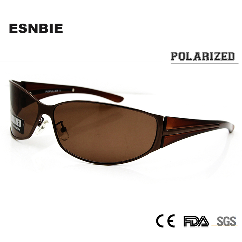 ESNBIE OPTICAL Polariserte solbriller menn Overdimensjonerte mannlige solbriller Driver Glass Flying Wrap Polaroid Sun Glass Sun Shade