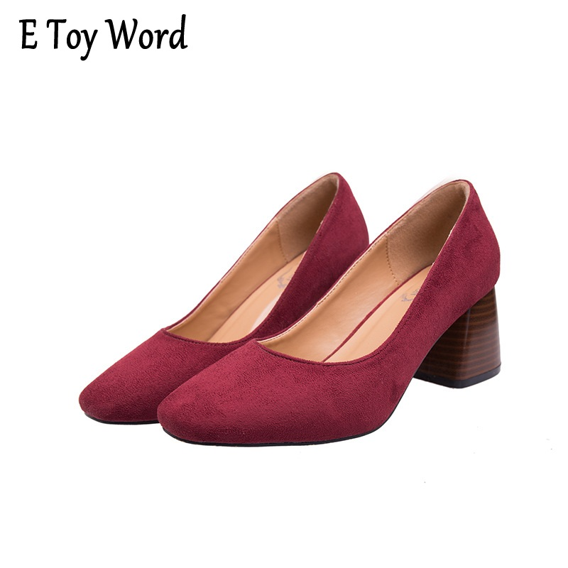 2017 new Women autumn Korean square shallow mouth thick with high-heeled shoes suede OL four working women shoes code