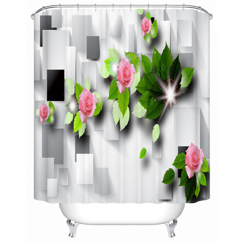 High Quality The Art Pink Flowers With Butterfly Bathroom Shower Curtain 3d Pattern Faric Print Polyester Curtain Red Green