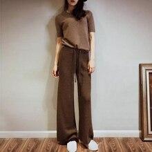 Новые зимние и осенние кашемировые вязаные женские широкие штаны с высокой талией, длинные брюки, вертикальные вогнутые выпуклые полосатые S-XL