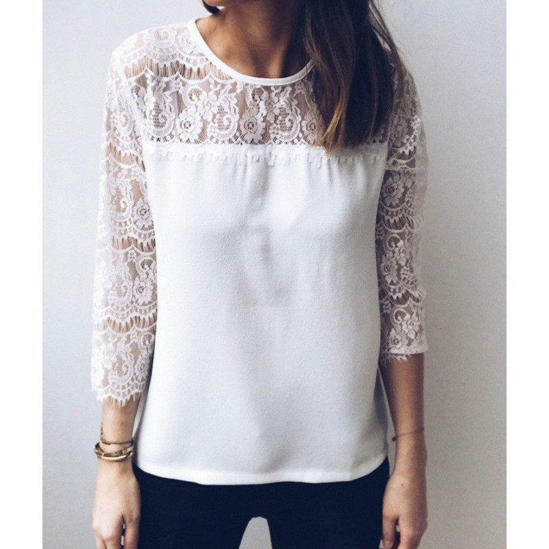 Free Shipping women Summer New Blouse 2018 Lace Shirt Hollow Out Blousa White Clothes ladies patchwork Blouses