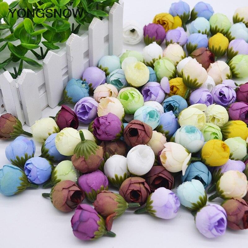 2cm Small Tea Rose Bud 20pcs Artificial Peony Flowers Head For Home Wedding Decoration Wreath Scrapbook  DIY Craft Fake Flower