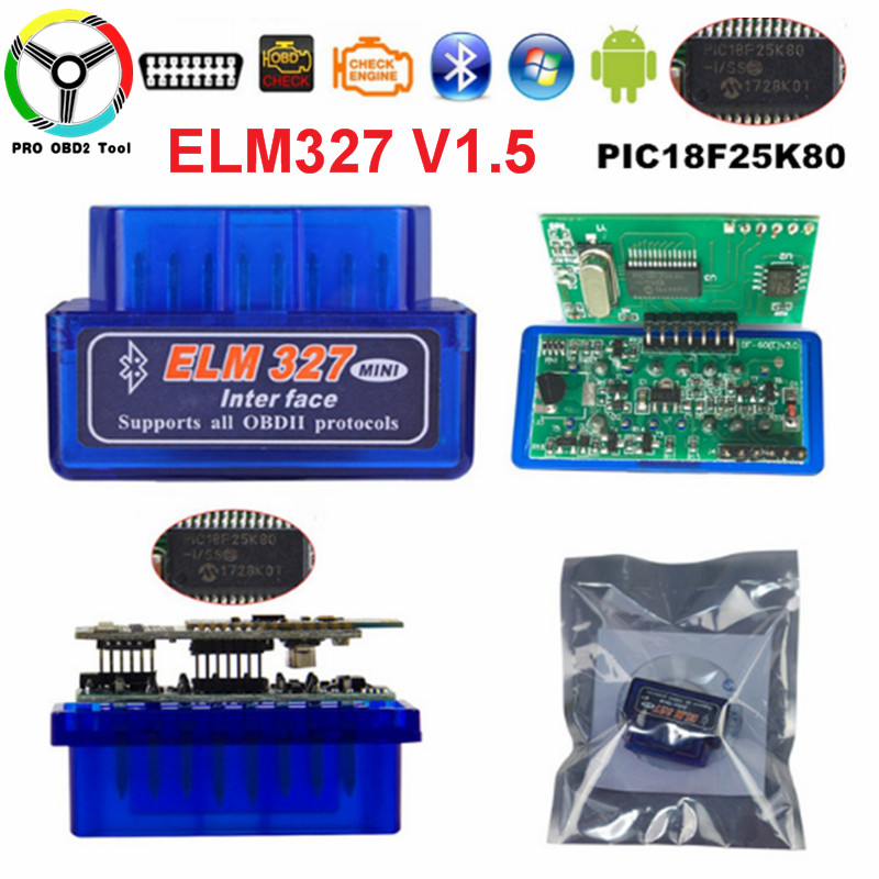 Latest V1.5 With PIC18F25K80 Chip ELM327 Bluetooth V1.5 Car OBD2 Diagnostic Tool ELM-327-1.5 Works On Android Torque Symbian