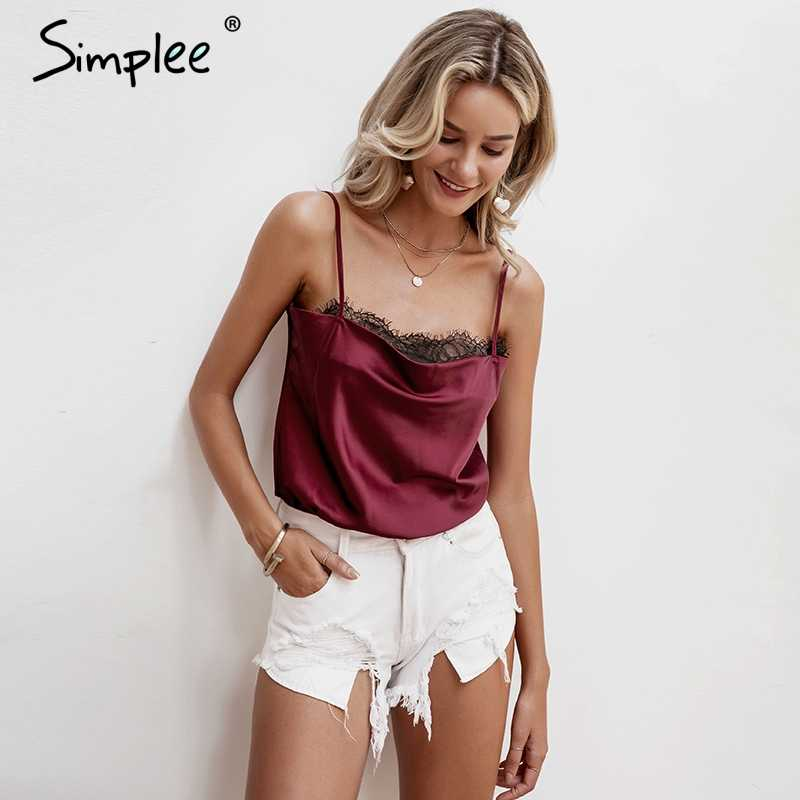 Simplee Sexy lace hem satin women bodysuit Spaghetti strap female top jumpsuit romper Elegant solid ladies party overalls 2019