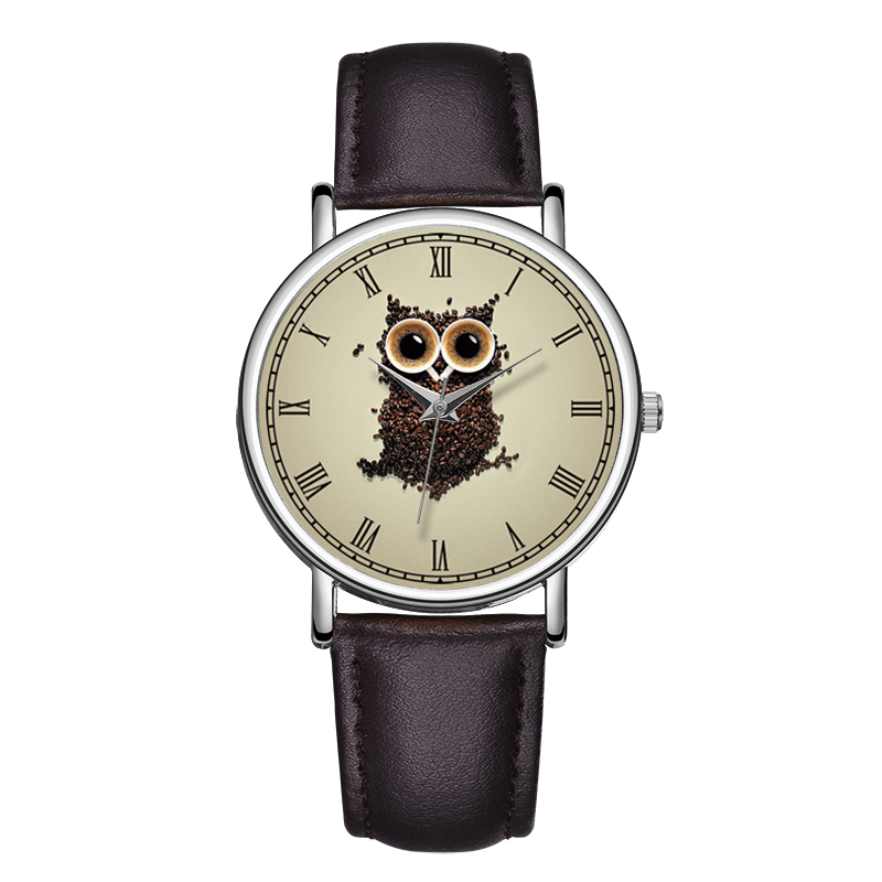 C-9007 BAOSAILI Wrist Watches Animal Printed Watch Dial Genuine Leather Lovely Women Clock Owl Watches Woman