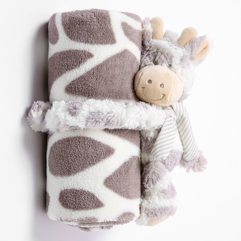 Infant Baby Blankets Newborn With Toys 100% Flannel 2 Layers Solid Color Warm Swaddle Wrap Baby Bedding Blankets