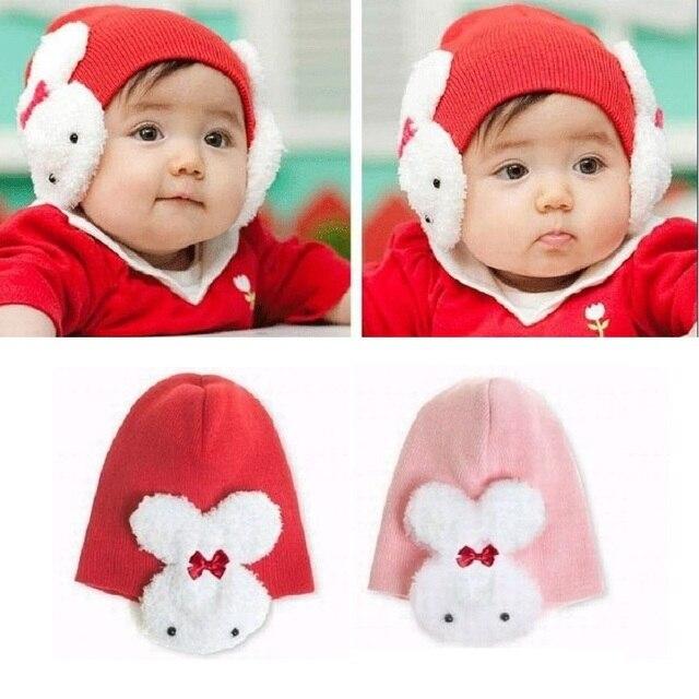 ec9494351d48 Rabbit Ear Protector Cute Bunny Baby Caps Newborn Beanies Skull ...