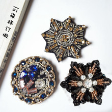 1pc 3D Handmade round Rhinestone beaded Patches for clothing DIY sew on sequin rhinestone parches Beaded appliques hats bags