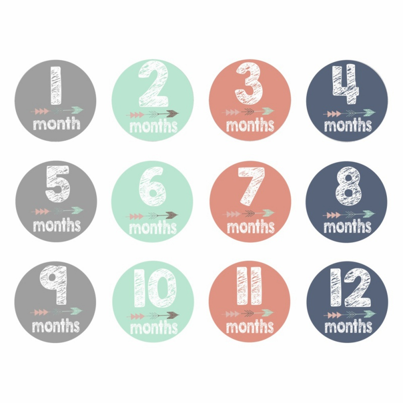 12Pcs/Set Novelty Baby Monthly Photograph Stickers 1-12 Month Milestone Stickers DIY Scrapbook Photo Album Cartoon Photo Prop Q1
