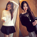 Hot sell high quality 2017 autumn and winter new dress lace shirt sweater color increase