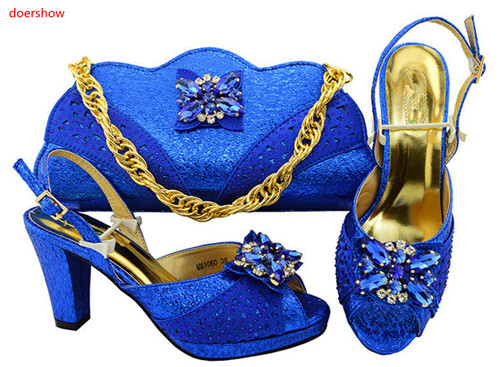 doershow Italian Matching Shoe and Bag Set for Wedding African Women Party Shoes with Bag Set High Quality with royalblueHVP1-34 fashion italy design italian matching shoe and bag set african wedding shoe and bag sets women shoe and bag to match tmm1 41