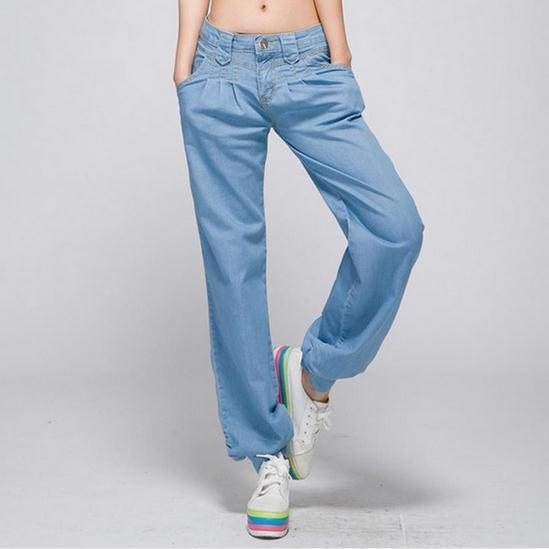 Moda Otoño Mujeres Casual Jeans Rectos Pantalones Vaqueros Más Tamaño Hembra Pantalones de Mezclilla Cintura Elástica Causal pantalones de Jean AW473