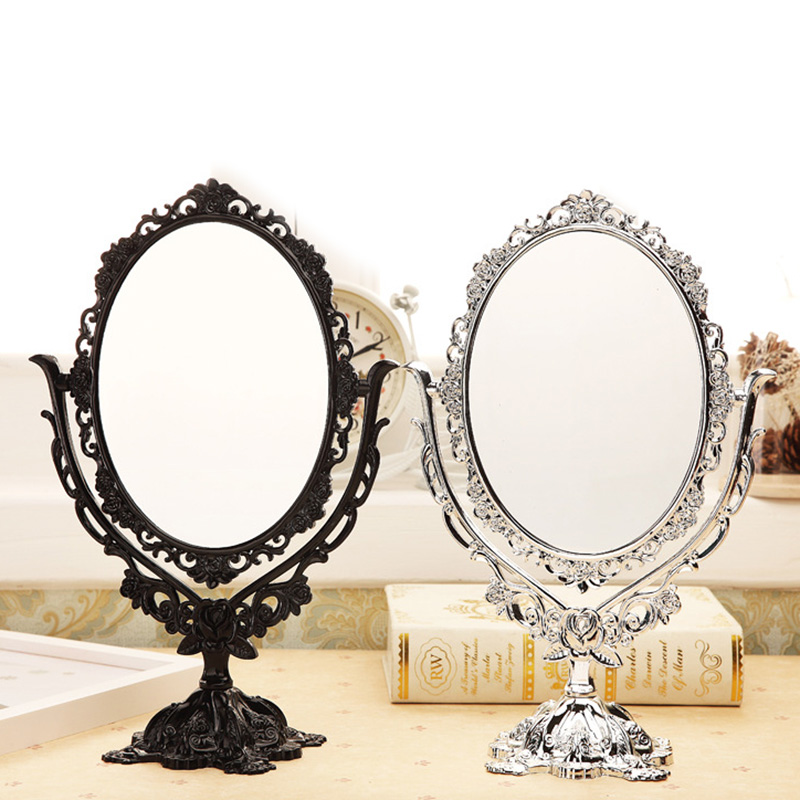 Vintage Makeup Mirror Desktop Rotatable Mirror with Butterfly Rose Vines Decor Tool HS11