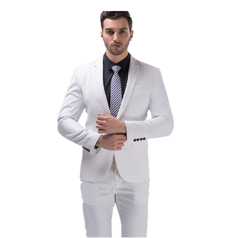 2017 new seasons high quality groom wedding dress studio Groomsmen white suit men's slim three piece suit (Jacket+Pants+Vest)