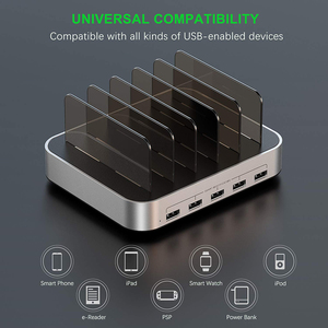 Image 3 - SeenDa 5 Ports USB Charging Station Dock with Holder 50W 10A Desktop USB Charger for Mobile Phone Tablet Charging Dock Organizer