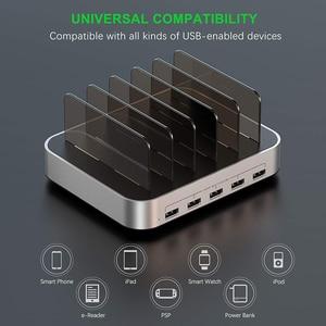 Image 3 - SeenDa 5 יציאות USB טעינת תחנת Dock עם מחזיק 50W 10A שולחן העבודה USB מטען לטלפון נייד Tablet טעינה dock ארגונית