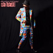 Male costume suit Printing long jacket outwear coat slim star show for singer dancer performance nightclub bar  bar fashion