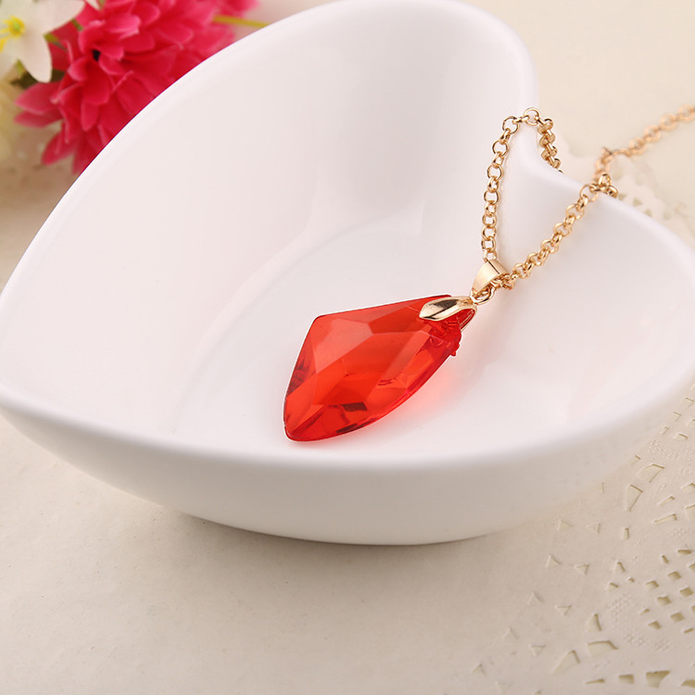 Fashion Red the Philosophers Stone Necklaces for Women Sorcerer Harry Potter Magic Pendants Movie Gifts for Kids