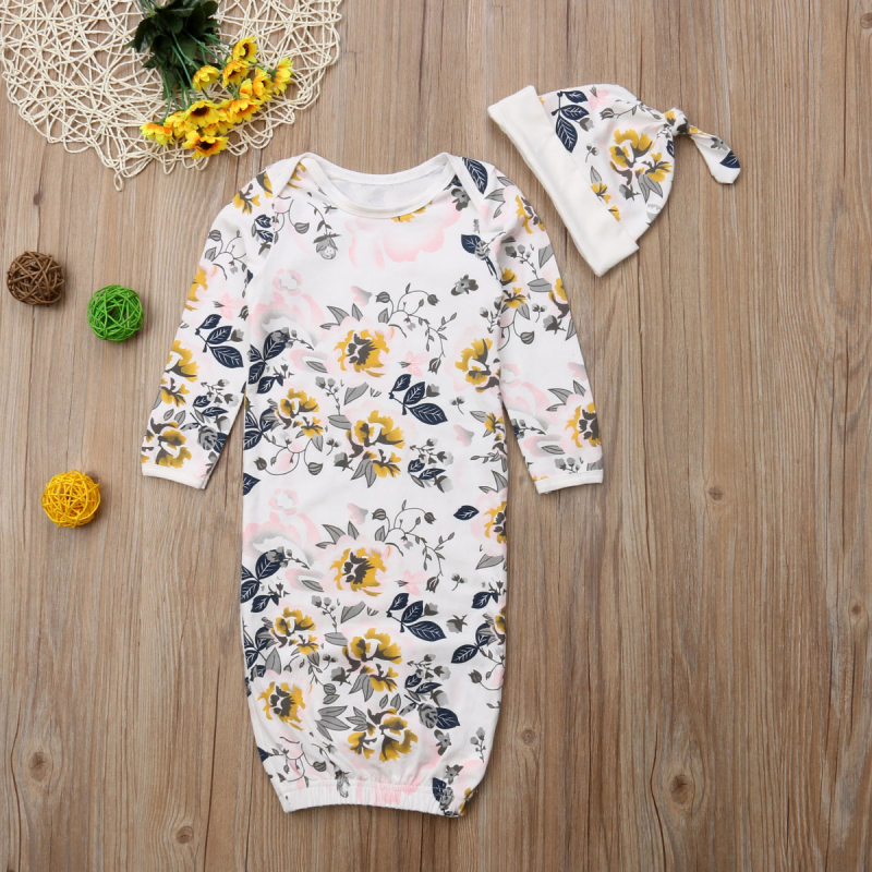 Baby Sleeping Bag+Hat Floral Infant Gowns Pajamas Baby Pyjamas Sleeping Suit For Babies Newborn Nightgown Sleepwear Robes