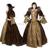 Классические брюки! Luxs коричневый бархат Винтаж костюмы Ренессанс Готический Театр викторианское платье бальное платье историческая реко
