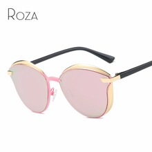 ROZA Sunglasses Women Vintage Steampunk Coating Round Lens Brand Designer Metal Nose Pads Sun Glasses UV400 QC0543