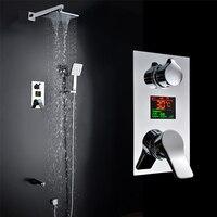 Ванная комната светодиодный душ 8 дюймов осадков Насадки для душа 3 функции светодиодный цифровой Дисплей смеситель для душа Concea светодиодн