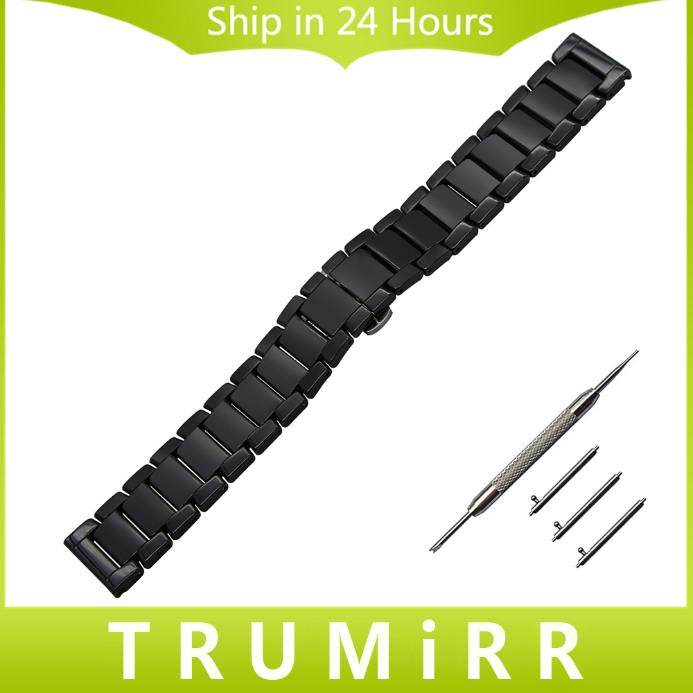 22mm Ceramic Watchband Quick Release Watch Band Universal Strap Stainless Steel Butterfly Buckle Belt Wrist Bracelet Black White крема