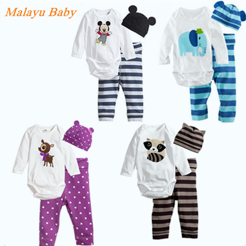 Burst models 2017 Newborn Baby Girls Little Clothes Sets Tops Romper + Long Pants Cute Animals Cotton Hat Outfits Set Clothes 2pcs baby girls clothes newborn baby girls cartoon tops shirt pants outfits set cute animals little sheep kids baby clothing