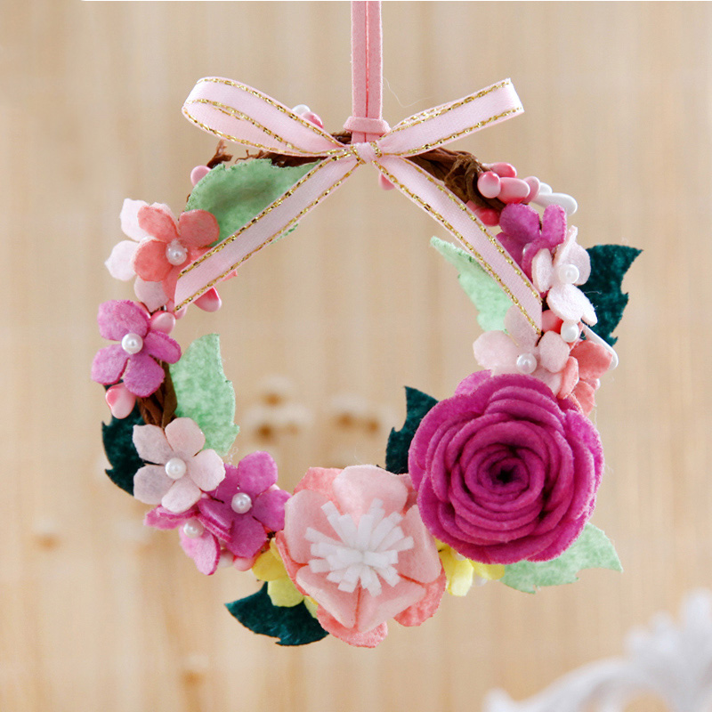 Felt Craft Kit Garland Pendant Beautiful Car Decoration Handmade Flower Ornaments Handmade Sewing Felt Material Package For Kids