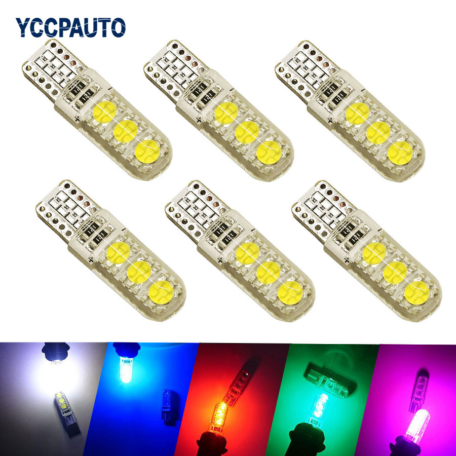 Car LED Lights T10 194 W5W DC 12V Canbus 6SMD 5050 Silicon shell LED Lights Bulb No Error Led Parking Fog light Auto Car styling new t10 6 smd 5050 194 w5w 501 led car light colourful led canbus error interior light bulb remote control dc 12v