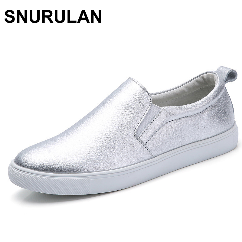 SNURULAN Brand Women Sneakers Slip on Casual Flats Shoes Leather White Sole Female Lazy Shoes Ladies White Black Metallic Faux vesonal brand faux fur women shoes flats 2017 winter warm velvet female fashion ladies woman sneakers casual footwear tsj 189