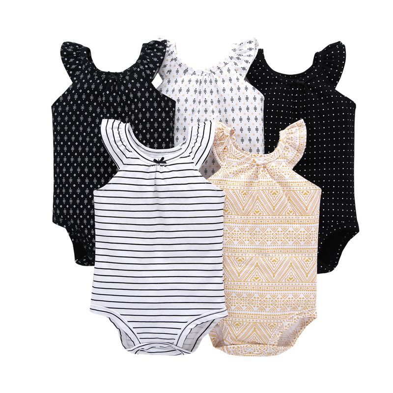 5 Pieces/Lot Bodysuits 2018 Summer Baby Girl Clothes Cotton Sleeveless printed Bodysuit Baby Jumpsuit Infant Toddle Clothes