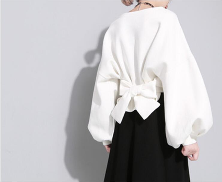 Printemps Régulier Nouvelle Manches blanc Version Top Tie Strap Coréenne shirt Col Lanterne Rond Noir Européenne 2018 Tumblr Personnalité Lâche T Complet DHW29EI