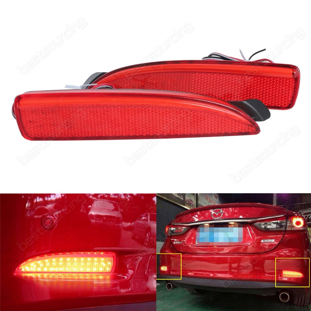 mazda 6 atenza 13 mazda3 4d red rear bumper reflector led tail stop brake light ca240 in car. Black Bedroom Furniture Sets. Home Design Ideas