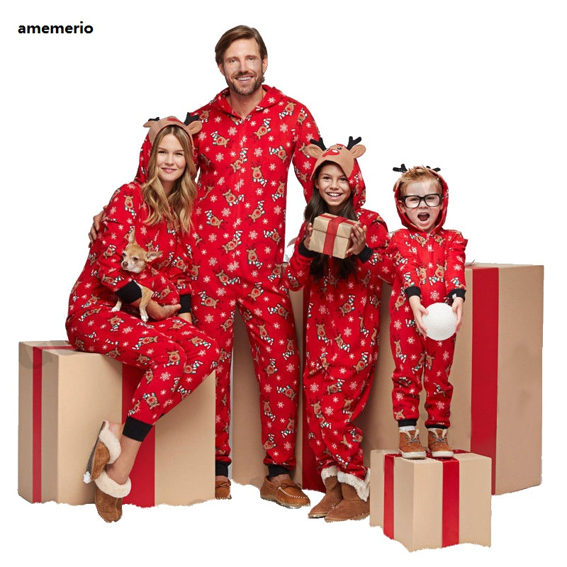 Christmas Family Matching Pajamas Rompers Father Son Night Wear Romper Baby Pajamas Mother Daughter Clothes Family Jumpsuit
