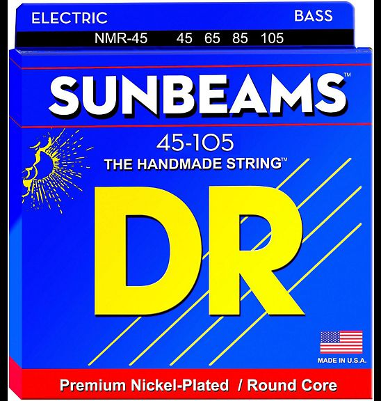 DR Strings Sunbeams NMR-45 Nickel Plated Round Core Bass Medium 4-String Bass Strings 45-105 dr k3 hi def neon green luminescent bass guitar strings light 40 100 or medium 45 105 or 5 strings 45 125