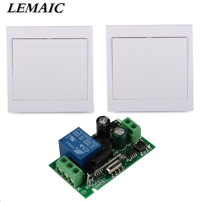 LEMAIC 433Mhz 86 Wall Panel Remote Control Switch Transmitter and Wireless RF Receiver For AC 110V 220V Ceiling Lamp Light wireless pager system 433 92mhz wireless restaurant table buzzer with monitor and watch receiver 3 display 42 call button