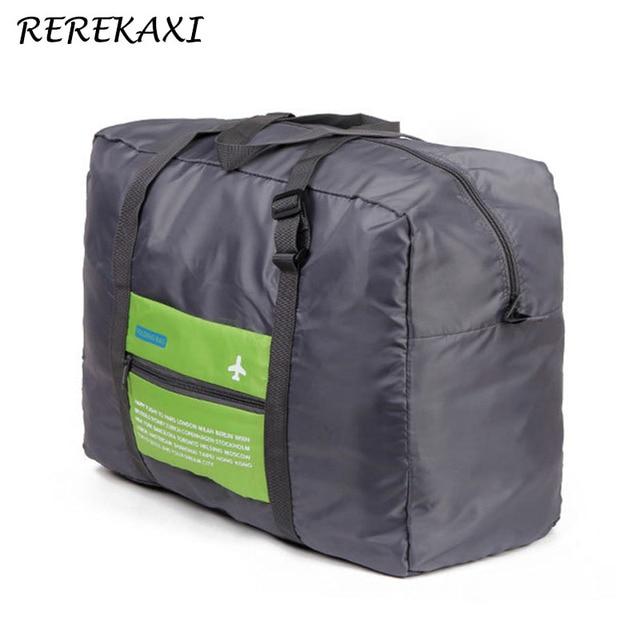 REREKAXI Polyester Folding Travel Bags Large Capacity Water Proof Unisex Duffel Bag Luggage Handbags Portable Baggage Bag