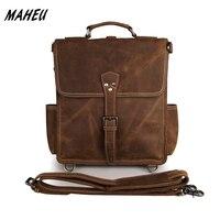 Men S Vintage Crazy Horse Leather Backpack Real Leather A4 School Rucksack Cowhide Leather Shoulder Bag