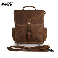 Men S Vintage Crazy Horse Leather Backpack Real Leather A4 School Rucksack Cowhide Leather Shoulder Bag