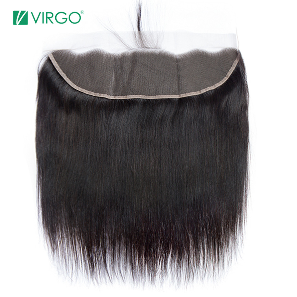 Virgo Hair Company Pre Plucked Lace Frontal Straight 100% Remy Human Hair Medium Brown Top Swiss Lace With Baby Hair