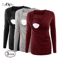 Pack of 3pcs Women's Maternity Tops Nursing Blouse Flattering Side Ruching Long Sleeve Breastfeeding Top Pregnancy T shirt